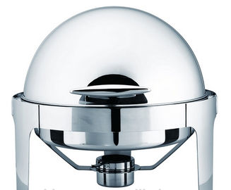 6L Round Roll Chafing Dish , Stainless Steel Roll Top Cookware