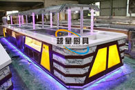 Yellow LED Commercial Buffet Equipment Granite Marble Tops Overhead Crystal Glass Gantry