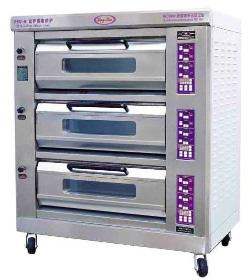 Luxury Commercial Pizza Oven With Microcomputer Control 3 Layer 6 Trays