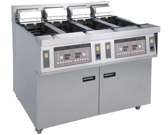 Stainless Commercial Kitchen Equipments / 4x13L Four - Cylider Deep Fryer With Cabinet